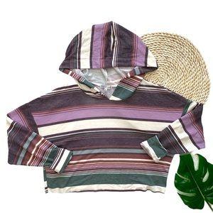 Fitz + Eddi Striped Cropped Pullover Sweatshirt S